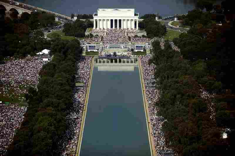 Thousands gathered around the Lincoln Memorial and the reflecting pool.