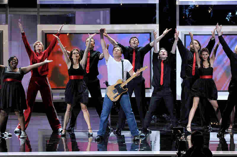 """Amber Riley, Jane Lynch, Tina Fey, Joel McHale, Jimmy Fallon, Cory Monteith, Chris Colfer, Jorge Garcia, Nina Dobrev, and Jon Hamm were, believe it or not, only some of the participants in the Emmys' terrific 'Born To Run"""" opening number on Sunday night."""