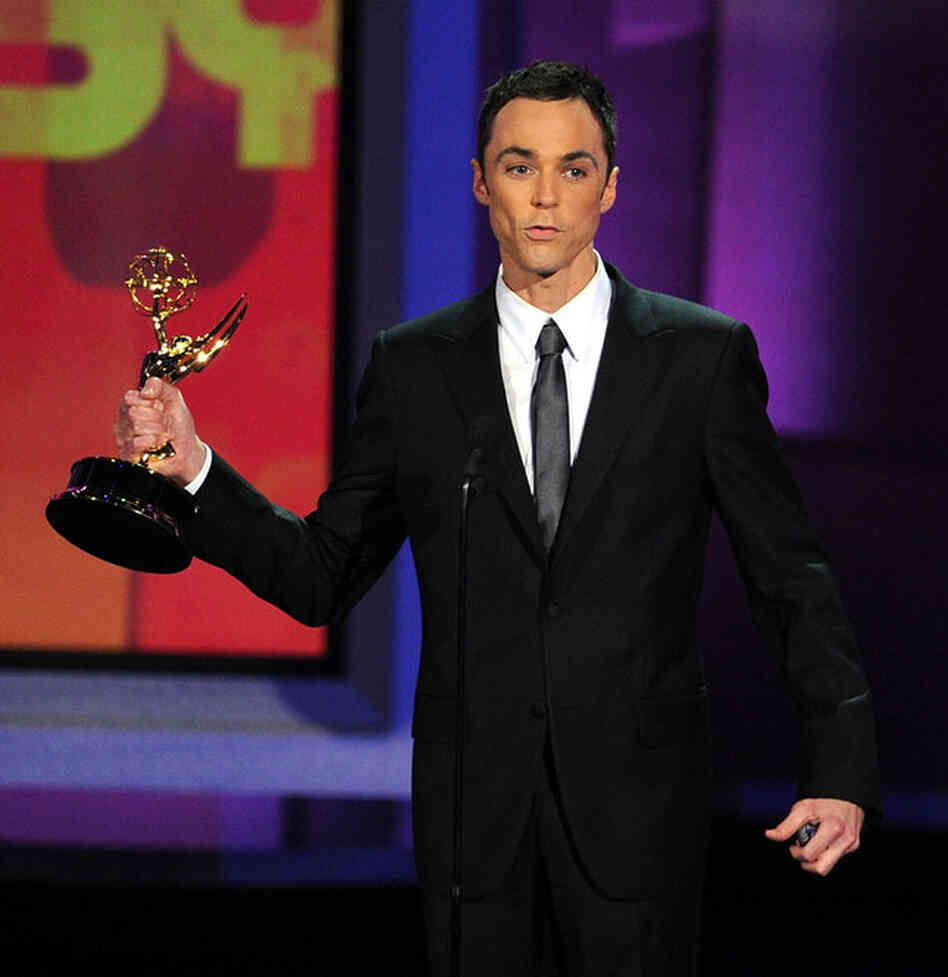 Actor Jim Parsons accepts the Outstanding Lead Actor in a Comedy Series award for The Big Bang Theory.