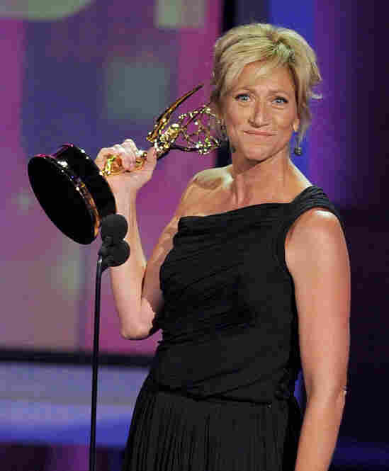 Actress Edie Falco accepts the Outstanding Lead Actress in a Comedy Series award for Nurse Jackie.