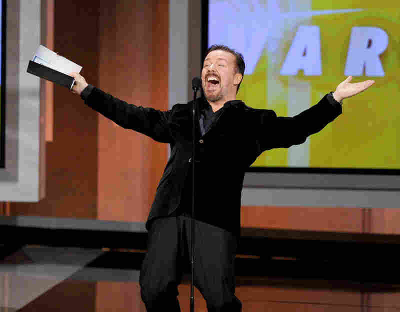 Actor Ricky Gervais speaks onstage at the Emmy Awards.