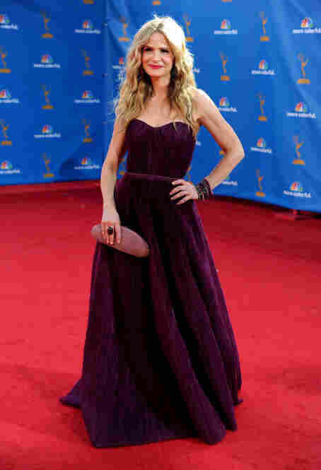 Actress Kyra Sedgwick, winner of the Outstanding Lead Actress in a Drama Series Award for The Closer, arrives at the Emmy Awards.