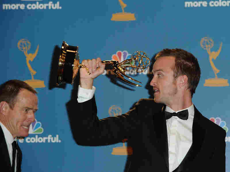 Actor Bryan Cranston poses with fellow Breaking Bad actor Aaron Paul, winner of the Outstanding Supporting Actor in a Drama Series Award.