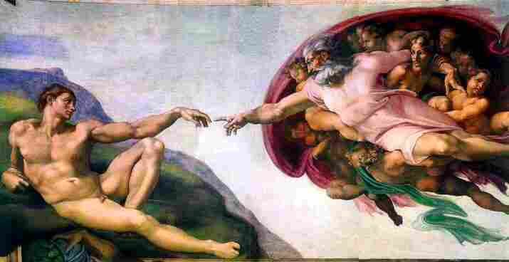 Michelangelo's Creation of Adam depicts the Christian God.