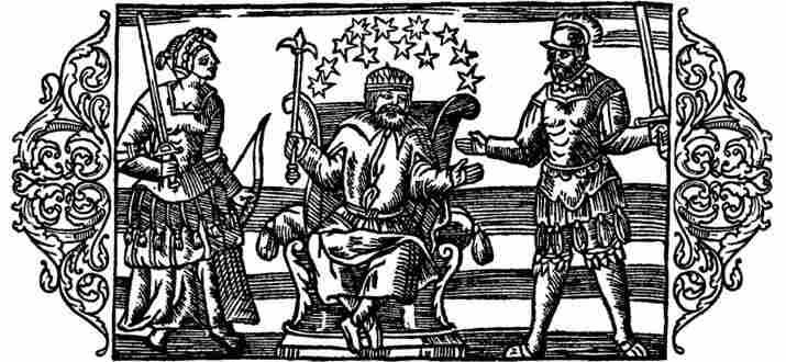 Norse gods Frigg, Thor and Odin