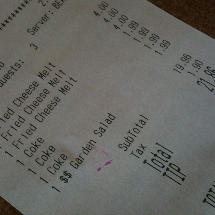 Our Denny's receipt.