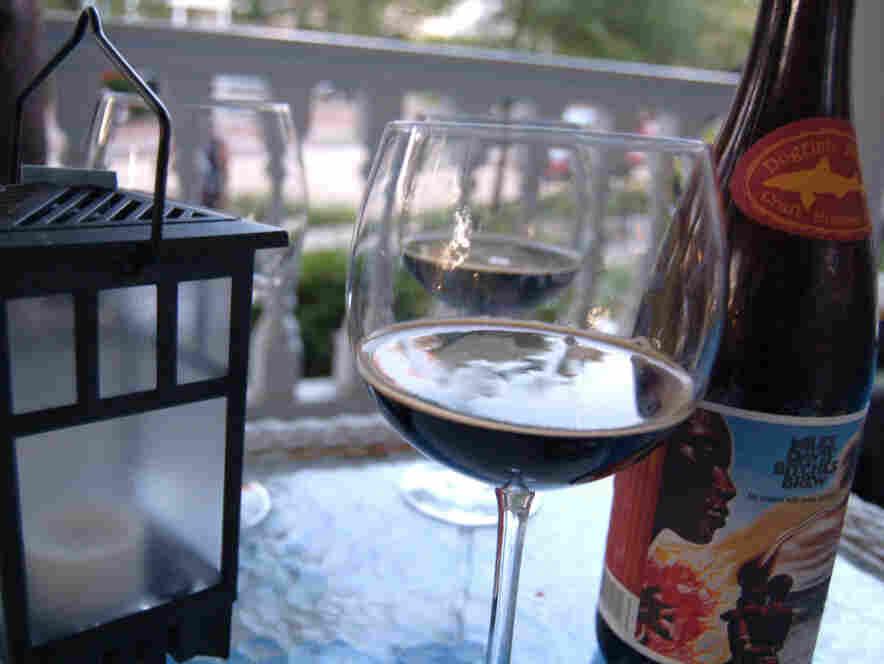 Bitches Brew ale in a wine glass.
