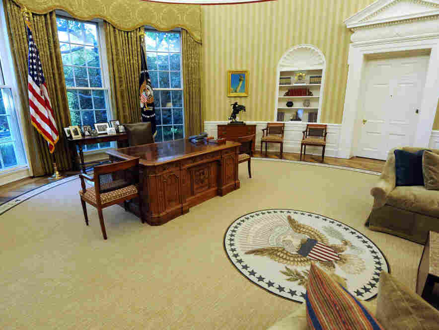The newly redecorated Oval Office of the