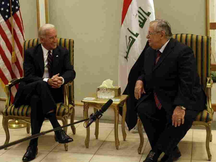 US Vice-President Joe Biden (L) meets Ir