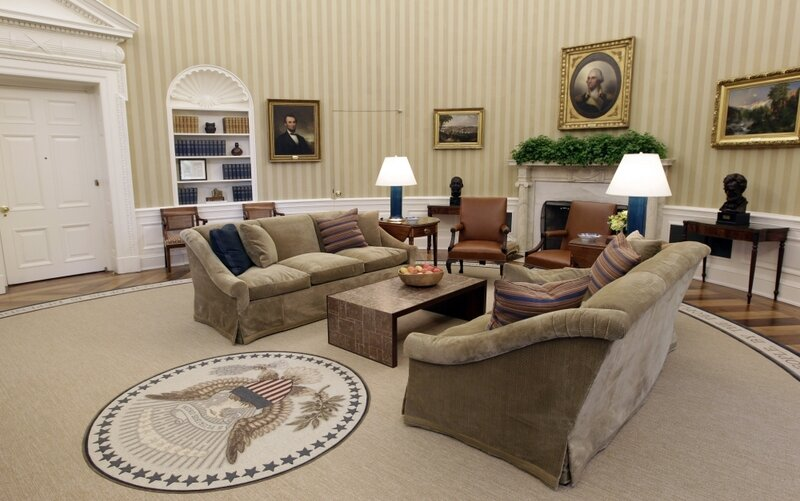 Studio Ovale Obama : Obama s new look oval office proves there s no disputing taste
