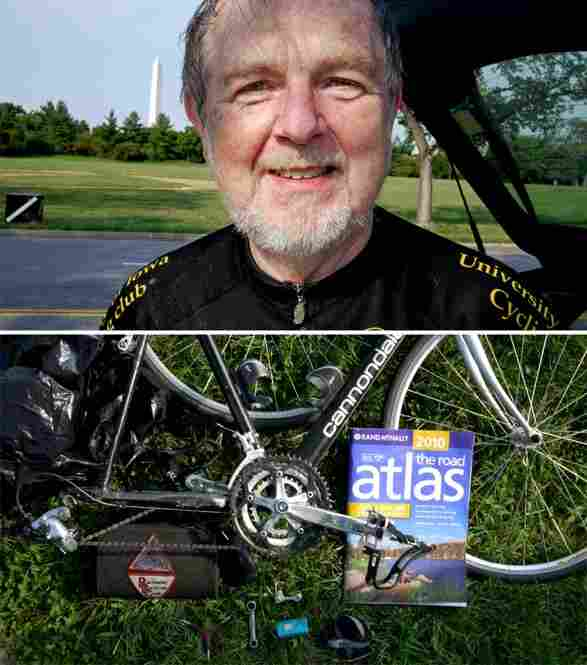 Guy LeValley of College Park, Md., displays the biking contents of his trunk: an atlas, a tarp and some tools.
