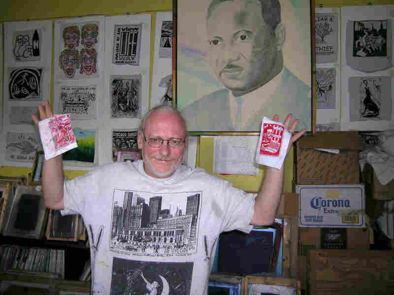 Artist Chris Drew in his office at Chicago's Uptown Multicultural Center