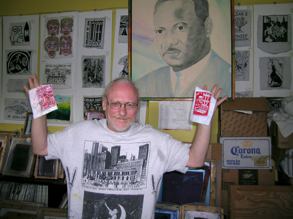 Artist Chris Drew in his office at Chicago's Uptown Multicultural  Center. Drew's fight against a city law restricting how artists can sell their work led to eavesdropping charges.