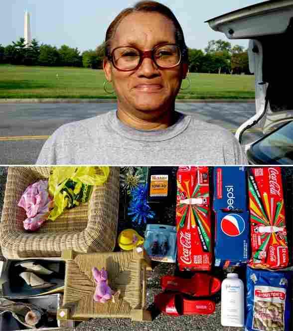 Clara Shuler of South Carolina keeps soda, baby powder and lots of shoes in her trunk.
