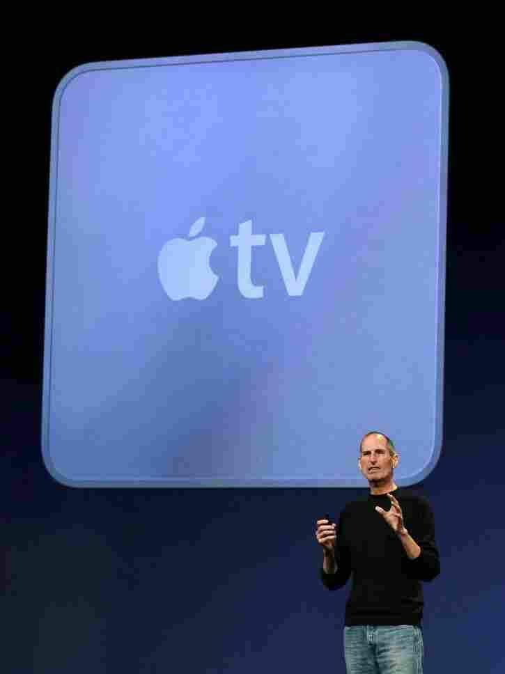 Apple CEO Steve Jobs announces the new Apple TV in San Francisco on Wednesday.