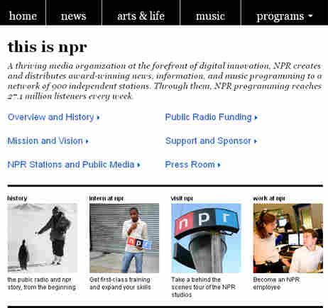 About NPR Landing Page
