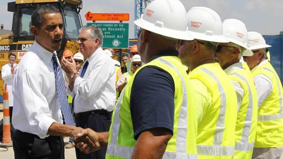 President Obama meets construction workers after speaking at a Recovery Act highway project in Columbus, Ohio, in June.