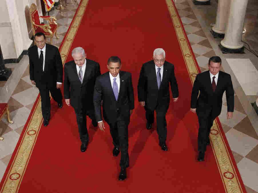 Barack Obama, Benjamin Netanyahu, King Abdullah II, Mahmoud Abbas, Hosni Mubarak