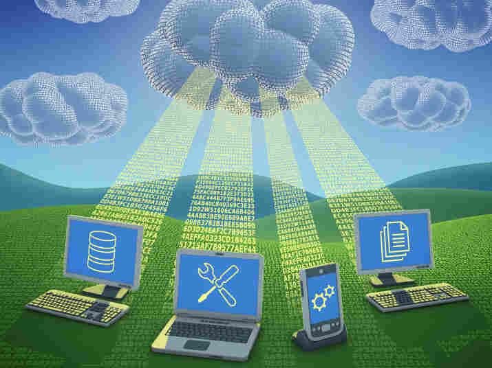 A graphic representing cloud computing.