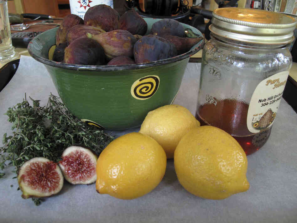 "Barrow's fig confiture recipe includes only figs, fresh thyme, lemons and honey.  ""Confiture"" is a French style of jam-making in which  the fruit sits very loose in a honey syrup, she says."