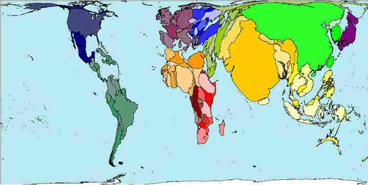 Map representing the population of the world.