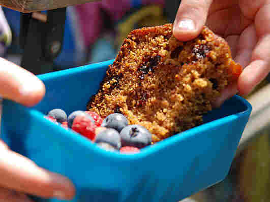 A youngster pulls a slice of pumpkin bread from a blue container with berries in it