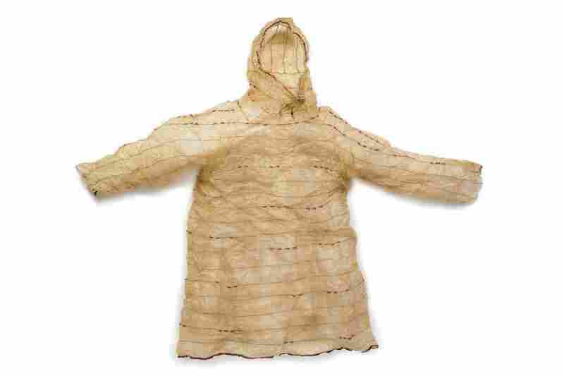 Unangax gut parka. Unangax women created lightweight, waterproof parkas from the intestines of sea lions, seals, whales, grizzly bears and whale tongue. Women made watertight seams by sewing a double fold with thread made from fox or whale sinew.