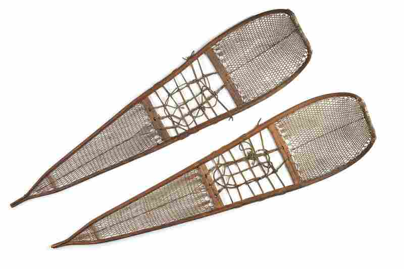 Athabascan snowshoes. Long round-toed snowshoes with fine caribou-hide mesh were for walking in deep, soft snow. On crusted snow, a hunter on snowshoes and his dogs could easily run down a moose, which breaks through the snow up to its belly with every step.