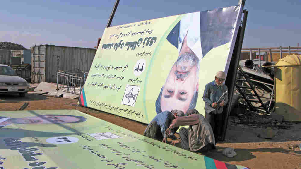Campaign posters for Daoud Sultanzoi in Afghanistan