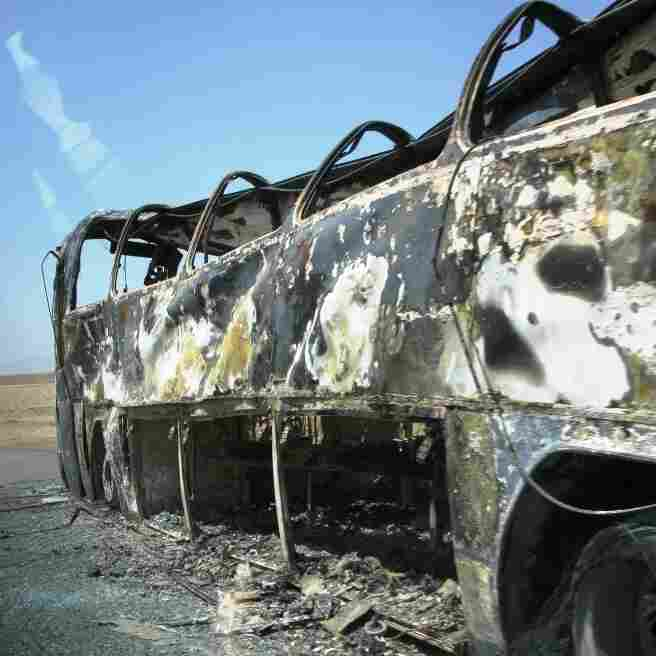 A burned out bus on Afghanistan's Ring Road