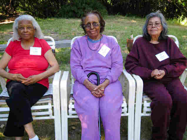 Respect, affection, reassurance and gentle humor can help cut through the confusion of dementia, experts say. Eva Brady (from left), Gladys Collins and Inez Murillo wait for the next activity to begin.