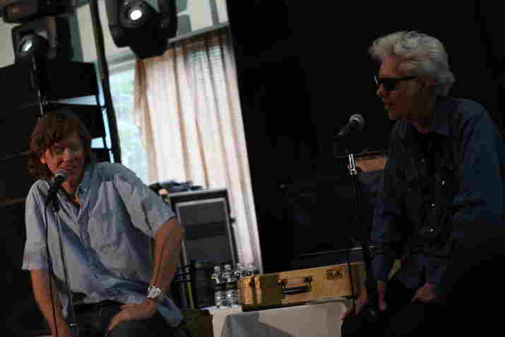 In their chat, Thurston Moore (left) told ATP curator and director Jim Jarmusch that when he's depressed, he likes to blast black metal in the car.