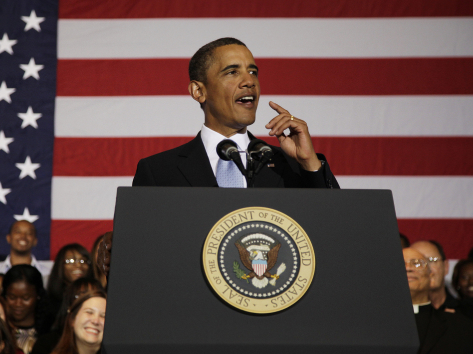 "President Obama speaks at Xavier University of Louisiana in New Orleans on Aug. 29, the fifth anniversary of Hurricane Katrina. In his speech, he highlighted the role of the federal government in addressing ""serious problems that had been neglected for decades."""