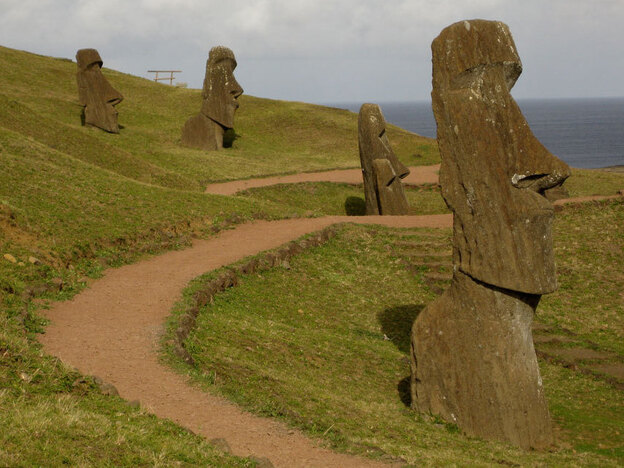 The massive and mysterious stone statues of Easter Island.