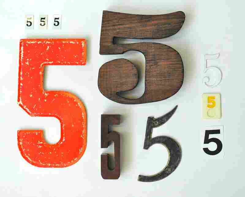 Day 126: I am a sucker for typography and so I collect letters and numbers. This is my collection of 5's. Five is my favorite number so that's why I have so many.
