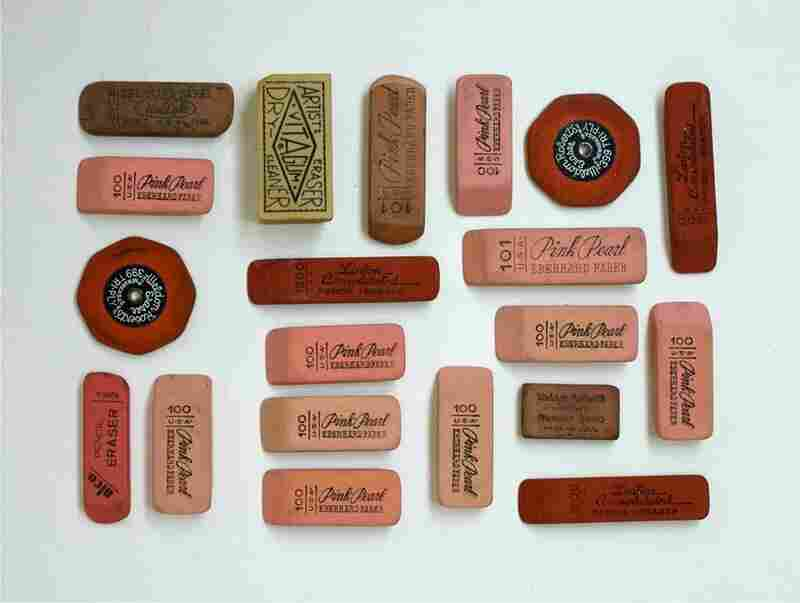 Day 1: I love erasers. I am not sure if it has anything to do with being an artist and the role that they play in my daily work or it's just because I love their typography and pink tones. I have found most of my erasers at  a place in San Francisco where people can dump off used materials for teachers and artists to reuse. I dig through boxes of old school supplies to find them.
