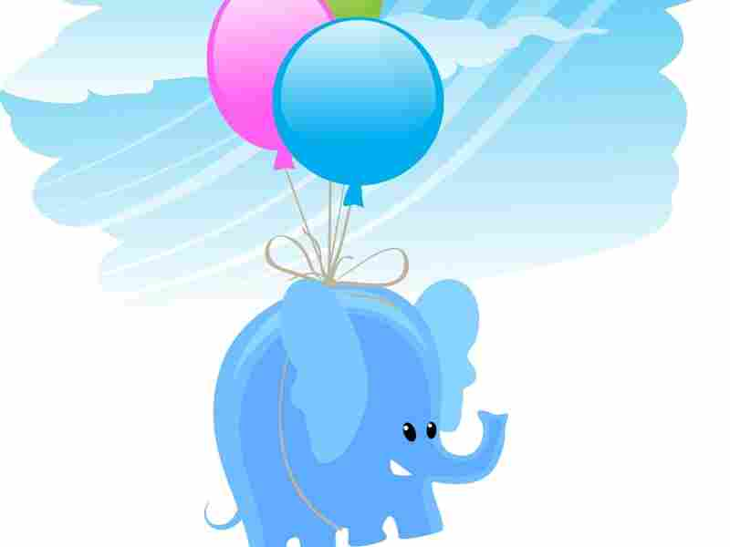 elephant flying with balloons