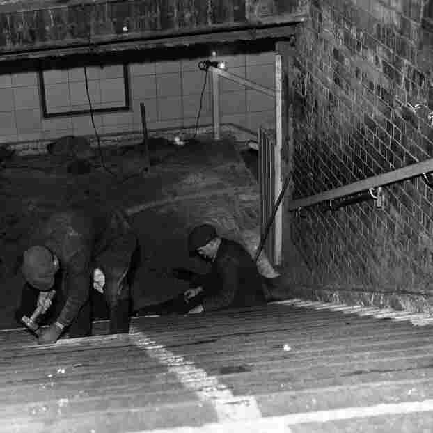 The stairs at the entrance of the tube station shelter at Bethnal Green, London, on March 5, 1943.
