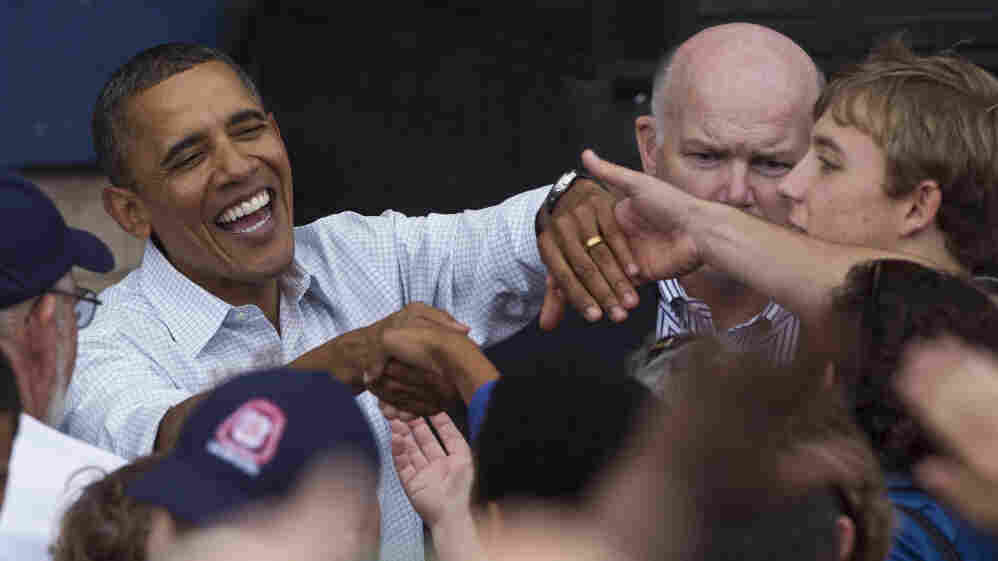 President Obama shakes hands after speaking at the annual Milwaukee Area Labor Council Laborfest.