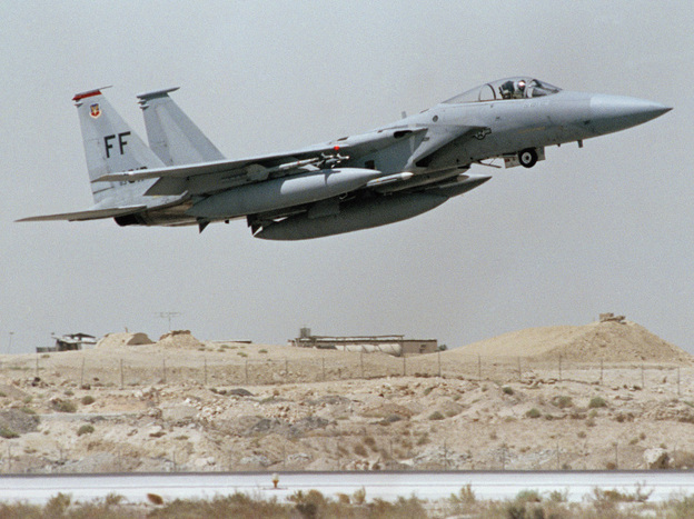 A U.S. F-15 fighter jet takes off in Saudi Arabia during the 1990-91 Operation Desert Shield.