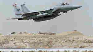A U.S. F-15 fighter jet takes off in Saudi Arabia during Operation Desert Shield.