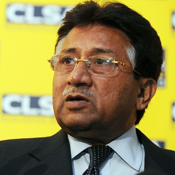 Former Pakistani president Pervez Musharraf speaks in Hong Kong.