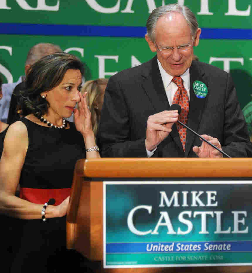 Rep. Mike Castle, R-Del., and his wife Jane after his defeat Tuesday.