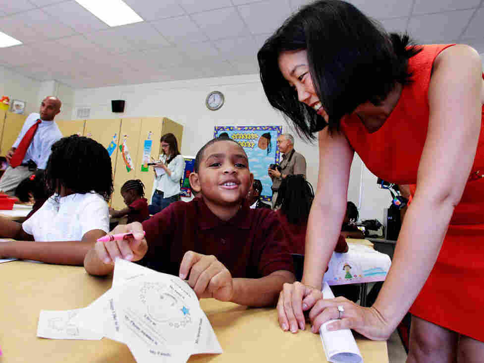 District of Columbia Schools Chancellor Michelle Rhee and Mayor Adrian Fenty at a city school in August.
