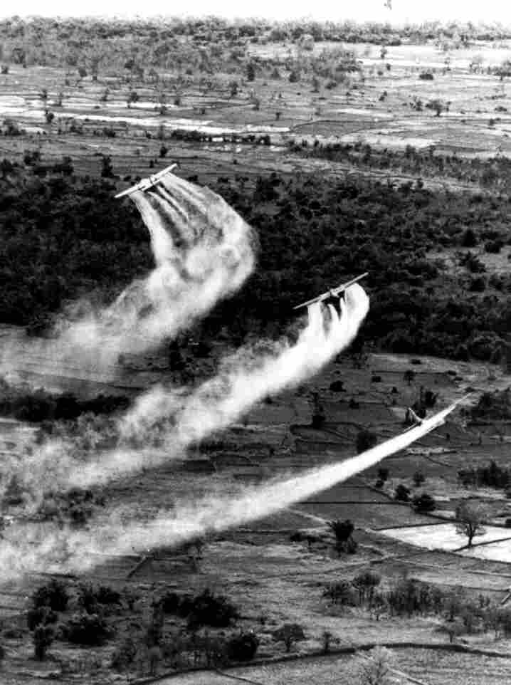 U.S. Air Force planes spray the defoliant chemical Agent Orange over vegetation in South Vietnam.