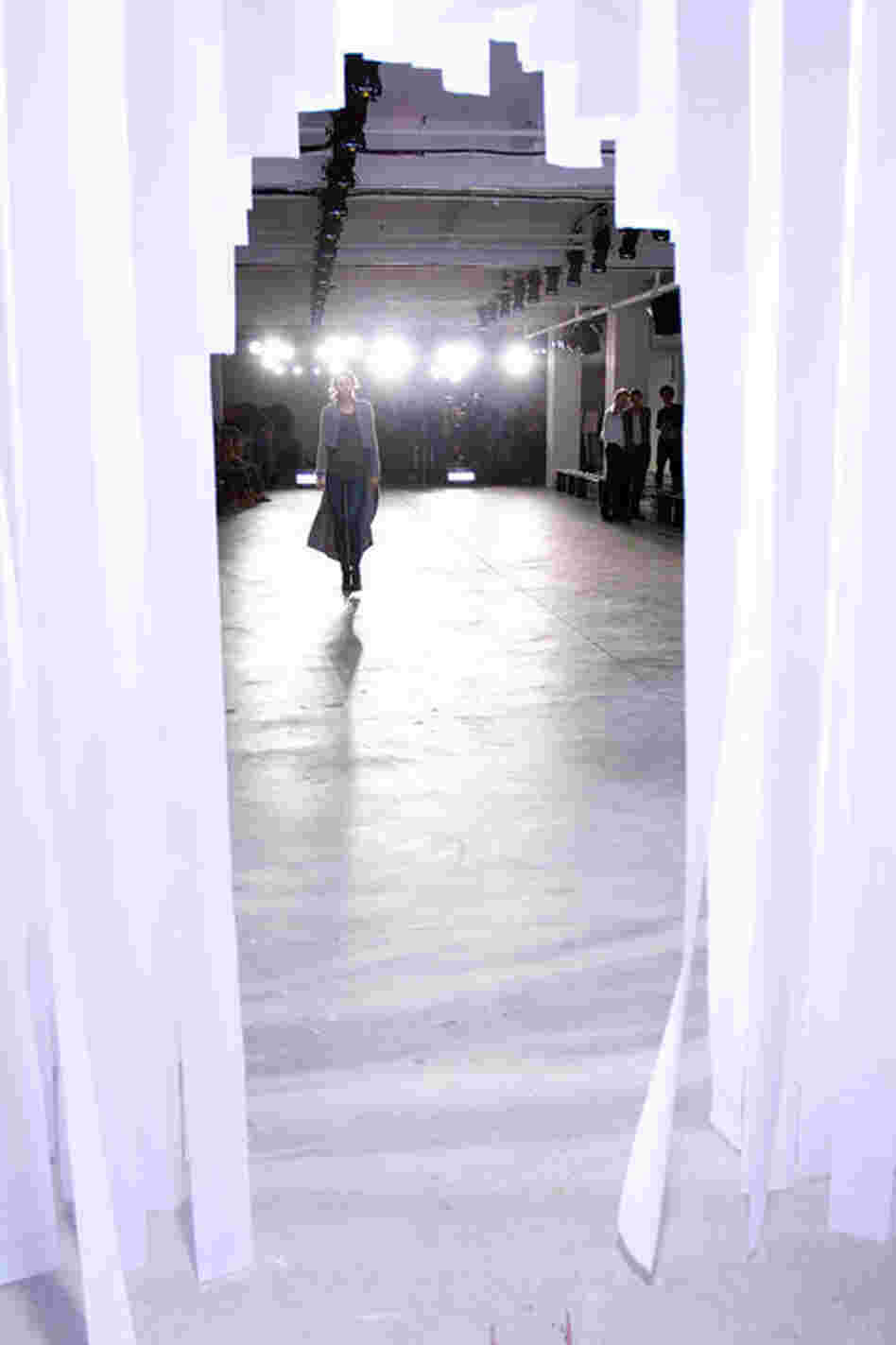 The view from backstage at the Preen by Thornton Bregazzi show Sunday at Milk Studios.
