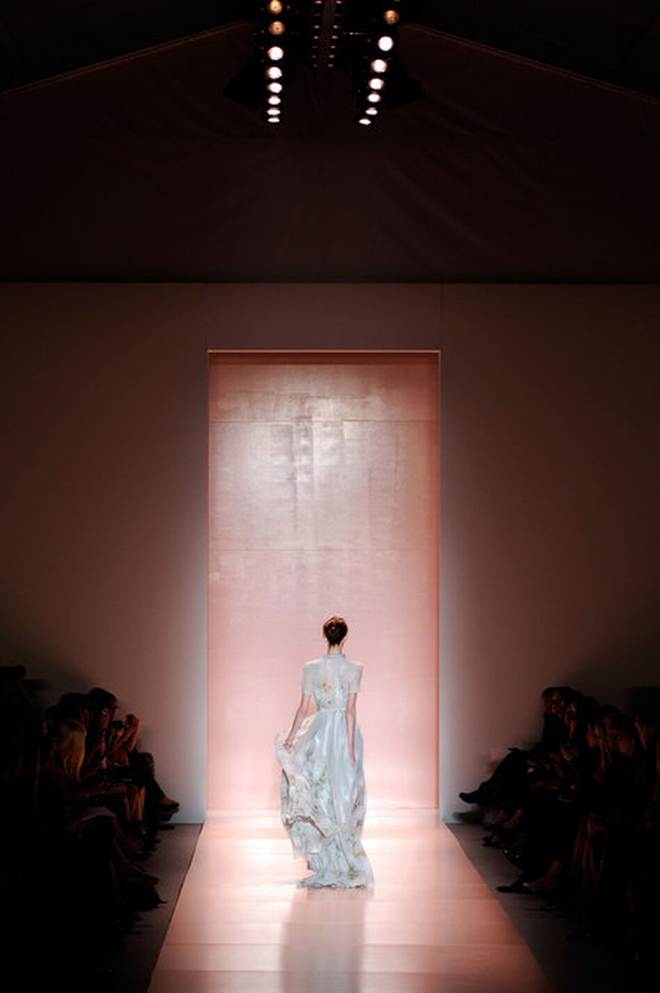 A model walks the runway at the Jenny Packham show Monday at The Studio.
