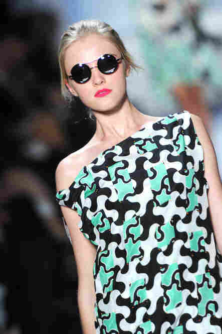 A model walks the runway at the Diane von Furstenberg show.