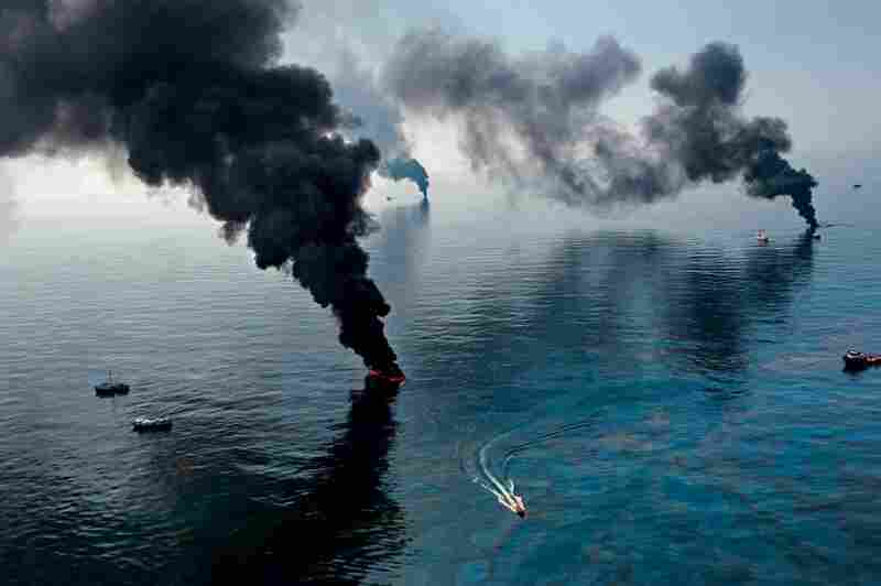 Smoke rises from surface oil being burned near the Deepwater Horizon blowout. The well spewed nearly 5 million barrels of oil, making it the world's largest accidental marine oil spill.