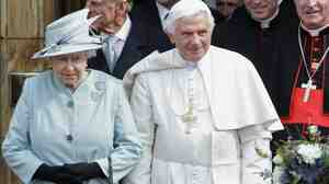 Britain's Queen Elizabeth and Pope Benedict in Ed